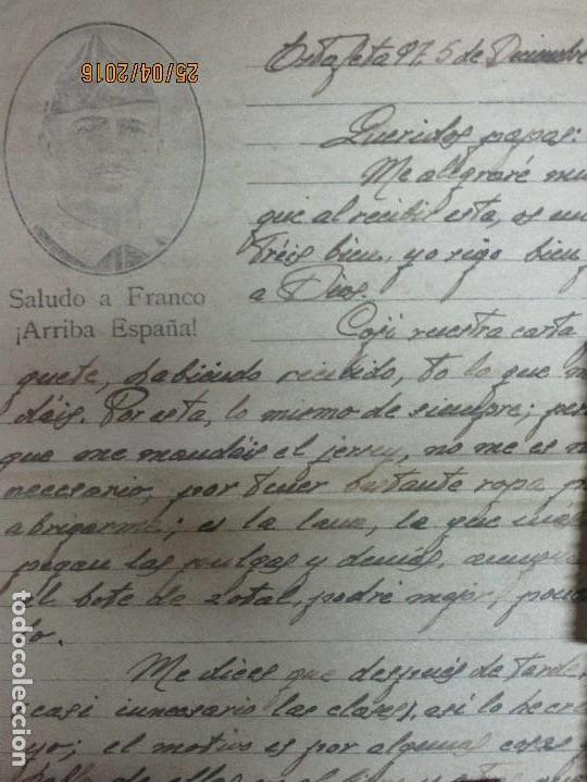 Militaria: FOTOS Y CARTA EFIGIE DE FRANCO FRENTE CATALUÑA FET JONS CENSURA GUERRA CIVIL 1938 BON AUTOMOBIL - Foto 21 - 144098166