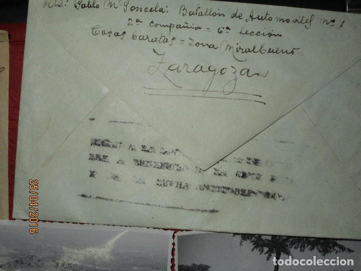 Militaria: FOTOS Y CARTA EFIGIE DE FRANCO FRENTE CATALUÑA FET JONS CENSURA GUERRA CIVIL 1938 BON AUTOMOBIL - Foto 22 - 144098166