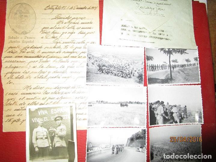 Militaria: FOTOS Y CARTA EFIGIE DE FRANCO FRENTE CATALUÑA FET JONS CENSURA GUERRA CIVIL 1938 BON AUTOMOBIL - Foto 4 - 144098166