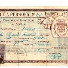 Militaria: CEDULA PERSONAL DIPUTACION PROVINCIAL DE SEVILLA. AÑO 1938. Lote 145711956