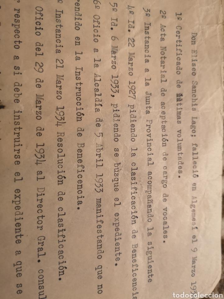 Militaria: ALGEMESI. EXPEDIENTE ELISEO SANCHIS LAGO, VOLUNTADES, REPÚBLICA,1934/35. FUNDACIÓN. LIBERAL-SOCIAL - Foto 2 - 146593865