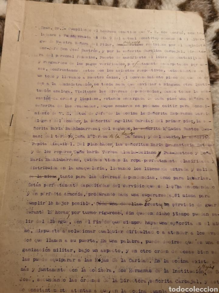 1937 INFORME ALBERGUE NUESTRA SEÑORA DEL PILAR FUENTERRABIA, ZONA NACIONAL, GUERRA CIVIL, REFUGIADOS (Militar - Guerra Civil Española)