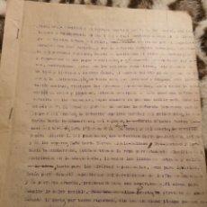 Militaria: 1937 INFORME ALBERGUE NUESTRA SEÑORA DEL PILAR FUENTERRABIA, ZONA NACIONAL, GUERRA CIVIL, REFUGIADOS. Lote 146595998