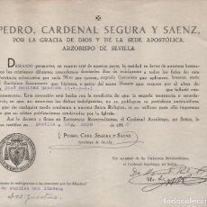 Militaria: SEVILLA, PEDRO, CARDENAL SEGURA Y SAENZ, FIRMA ORIGINAL, AÑO 1938, VER Y LEER TEXTO. Lote 146827266