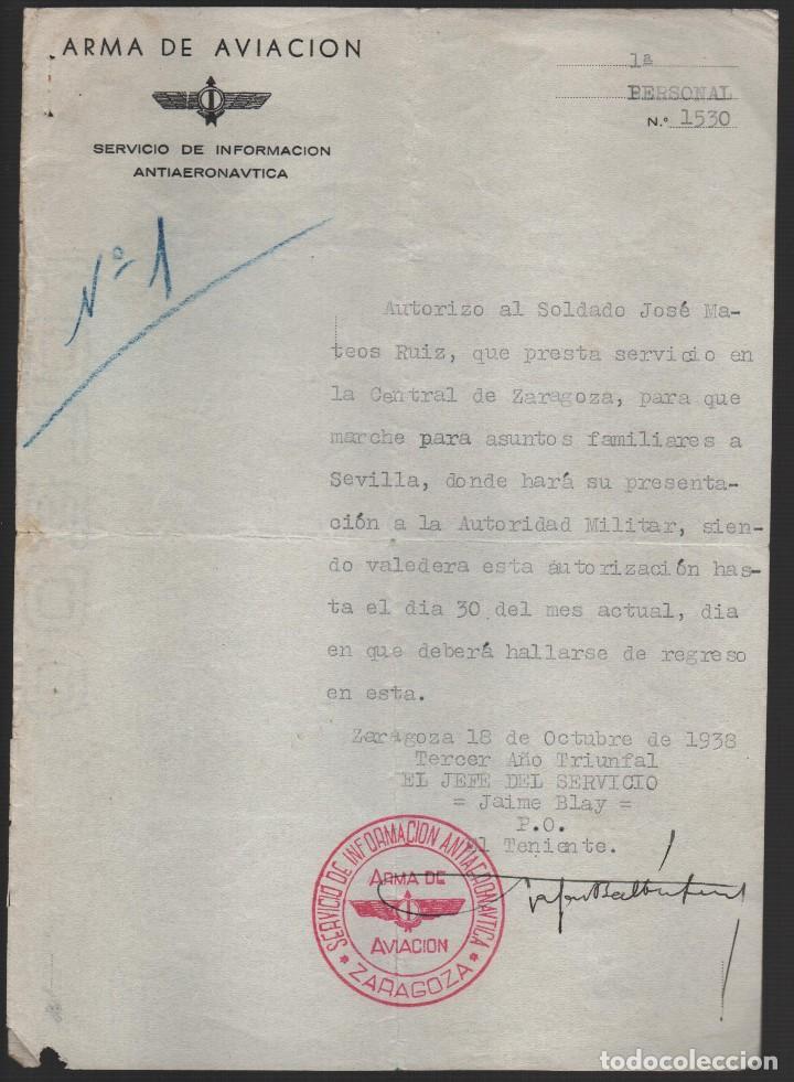 ZARAGOZA, ARMA DE AVIACION. PERMISO PARA SEVILLA, OCTUBRE 1938, LEER TEXTO Y VER FOTO (Militar - Guerra Civil Española)