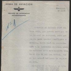 Militaria: ZARAGOZA, ARMA DE AVIACION. PERMISO PARA SEVILLA, OCTUBRE 1938, LEER TEXTO Y VER FOTO. Lote 146828406