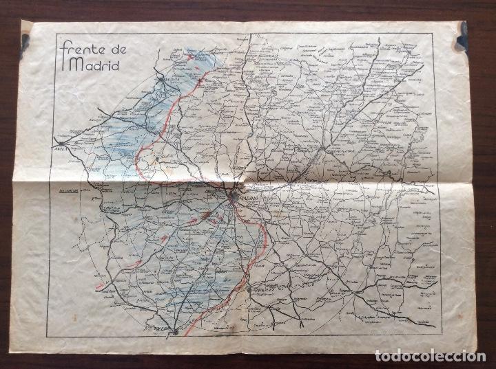 MAPA PLANO GUERRA CIVIL. FRENTE DE MADRID. 31 X 43 CMS. (Militar - Guerra Civil Española)