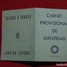 Militaria: BENICARLÓ. CARNET DE LA FALANGE ESPAÑOLA. OCTUBRE DE 1938.. Lote 147719858