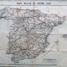 Militaria: MAPA MILITAR DE ESPAÑA , GUERRA CIVIL 1938 , REPUBLICA , EDITORIAL FACETAS , ORGINAL . Lote 147981966