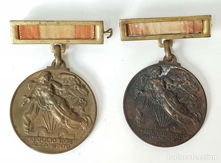PAREJA DE MEDALLAS DE BRONCE. ALZAMIENTO Y VICTORIA. GUERRA CIVIL. 1936-1939. (Militar - Guerra Civil Española)