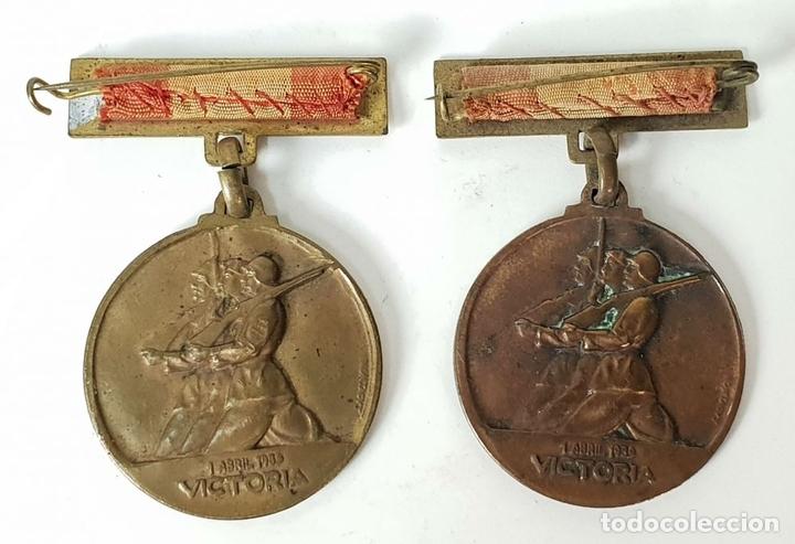 Militaria: PAREJA DE MEDALLAS DE BRONCE. ALZAMIENTO Y VICTORIA. GUERRA CIVIL. 1936-1939. - Foto 4 - 148432558