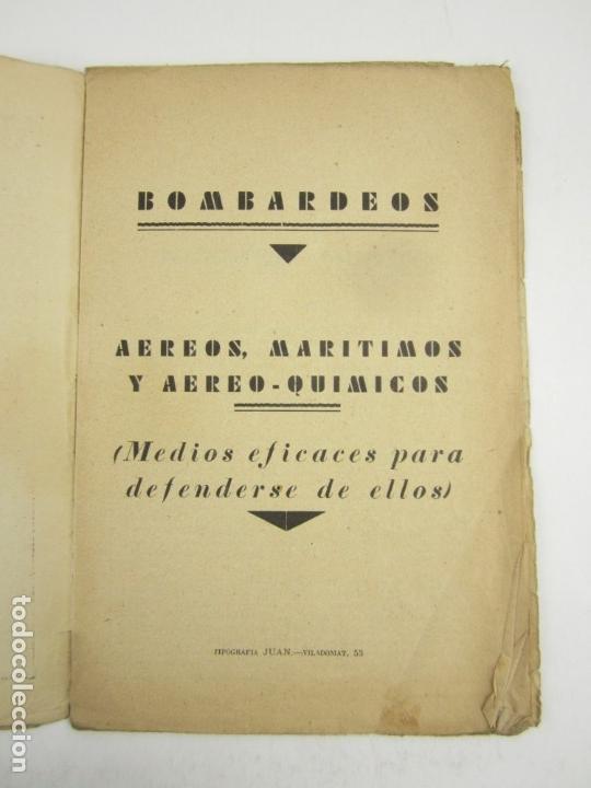 Militaria: Bombardeos, aéreos, marítimos, químicos, panfleto Guerra Civil, medios para defenserse. 23x15,5cm - Foto 2 - 148748486