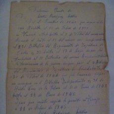 Militaria: GUERRA CIVIL: DECLARACION JURADA MILITAR DE TENERIFE, GUERRA EN EL R.INF. CADIZ 33. 1945. MANUSCRITO. Lote 148795678