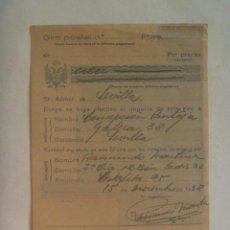 Militaria: GUERRA CIVIL: RECIBO GIRO POSTAL DESDE 2ª CIA , 12 BON. DEL RGTO. CADIZ 33, ESTAFETA 95 . 1938. Lote 149611378
