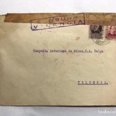 Militaria: GUERRA CIVIL. SOBRE FRANQUEADO. SECTOR NAVAL CARTAGENA, A CIA. ASTURIANA DE MINAS. VALENCIA (A.1937). Lote 151660610