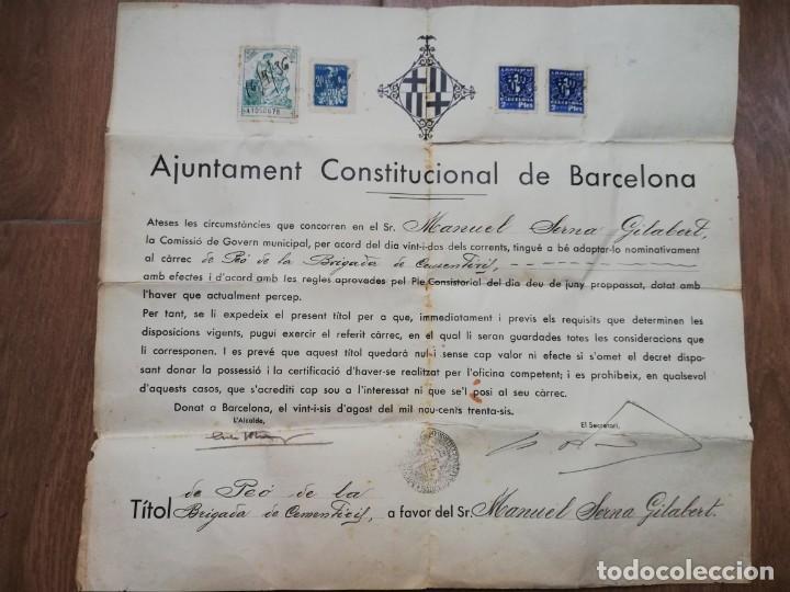 FIRMADO CARLES PI I SUNYER. ALCALDE BARCELONA 1936. ESQUERRA REPUBLICANA DE CATALUÑA. GUERRA CIVIL. (Militar - Guerra Civil Española)
