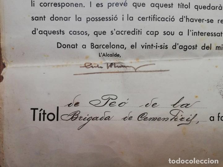 Militaria: FIRMADO CARLES PI I SUNYER. ALCALDE BARCELONA 1936. Esquerra Republicana de Cataluña. GUERRA CIVIL. - Foto 3 - 152174054