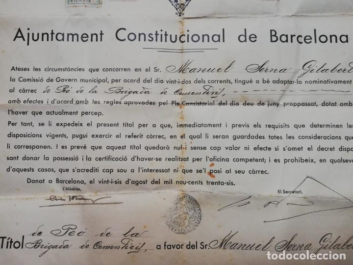 Militaria: FIRMADO CARLES PI I SUNYER. ALCALDE BARCELONA 1936. Esquerra Republicana de Cataluña. GUERRA CIVIL. - Foto 7 - 152174054