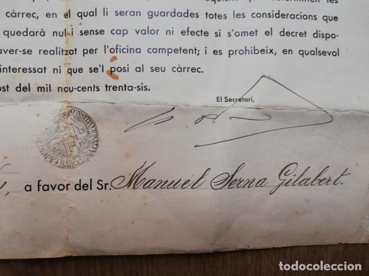 Militaria: FIRMADO CARLES PI I SUNYER. ALCALDE BARCELONA 1936. Esquerra Republicana de Cataluña. GUERRA CIVIL. - Foto 8 - 152174054