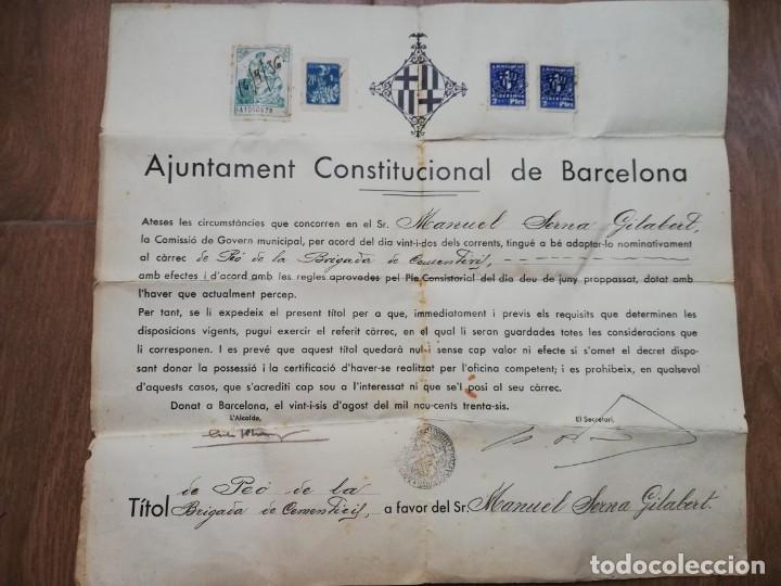 Militaria: FIRMADO CARLES PI I SUNYER. ALCALDE BARCELONA 1936. Esquerra Republicana de Cataluña. GUERRA CIVIL. - Foto 10 - 152174054