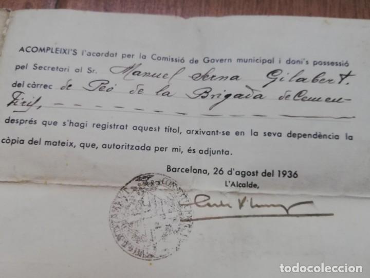 Militaria: FIRMADO CARLES PI I SUNYER. ALCALDE BARCELONA 1936. Esquerra Republicana de Cataluña. GUERRA CIVIL. - Foto 12 - 152174054