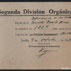 Militaria: SEVILLA, SUSCRIPCION- COCINA ECONOMICA-- TACHADO, AVIACION, VER FOTO. Lote 152814742