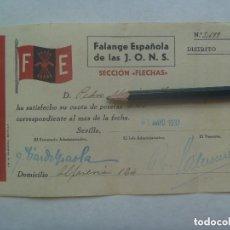 Militaria: GUERRA CIVIL - FALANGE : RECIBO CUOTA SECCION FLECHAS . SEVILLA, 1937.. Lote 153096882