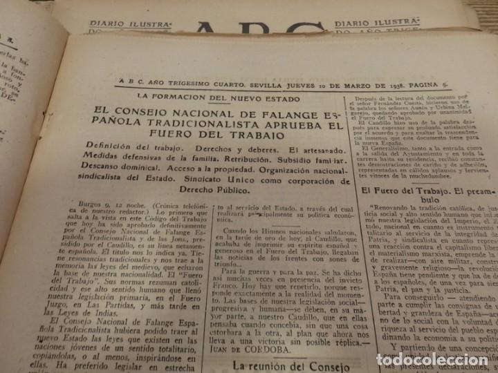 Militaria: ABC 10 DE MARZO DE 1938, 21 PAGINAS, FRENTE DE ARAGON,FUERO DEL TRABAJO, PARTE DE GUERRA - Foto 4 - 154993582