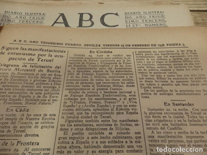 Militaria: ABC 25 DE FEBRERO DE 1938, 26 PAGINAS, BILBAO,FRENTE DE TERUEL,CORDOBA,MIGUEL FLETA,ETC - Foto 4 - 155009286