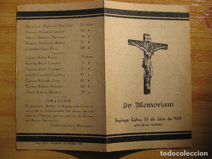 Militaria: IN MEMORIAM - ESPLUGA CALVA, 13 DE JULIO DE 1939 - Foto 2 - 155441798