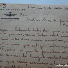 Militaria: SINARCAS. VALENCIA. ARMA DE AVIACIÓN. 1938. LOTE DE 2 CARTAS MANUSCRITAS, EN CATALÁN. Lote 156686666