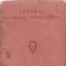 Militaria: CARNET CENTRAL NACIONAL SINDICALISTA - LERIDA. Lote 156787294