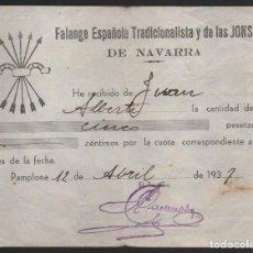 Militaria: NAVARRA-PAMPLONA-, 5 PTAS, CUOTA, FALANGE ESPAÑOLA, AÑO 1937, VER FOTO . Lote 156810286