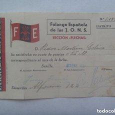 Militaria: GUERRA CIVIL - FALANGE : RECIBO CUOTA SECCION FLECHAS . SEVILLA, 1937. Lote 156826862