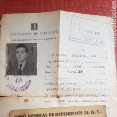 Militaria: GUERRA CIVIL UGT TARJETA INTRUCCION MILITAR Y SALVOCONDUCTO 1937 VIÑETA SRI. Lote 157008845