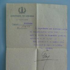 Militaria: GUERRA CIVIL - AUDITORIA GUERRA: NOTIFICACION DELITO DESERCION, PUERTO CALATRAVEÑO. SEVILLA, 1937. Lote 157284502