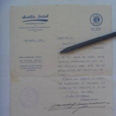 Militaria: GUERRA CIVIL - AUXILIO SOCIAL - FALANGE : CERTIFICADO EXENTO DE SERVICIO. VALLADOLID , 1938. Lote 157492754