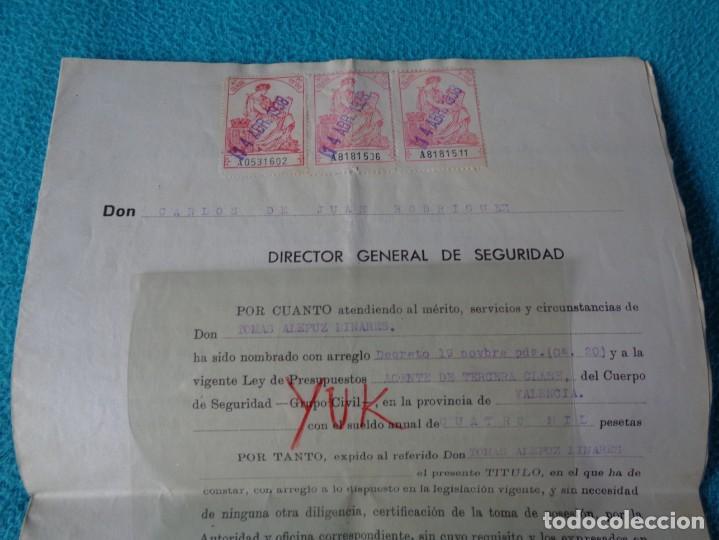 Militaria: lote titulo de nombramiento de agente del cuerpo de seguridad grupo civil 1938 valencia + 6 postales - Foto 2 - 158798462