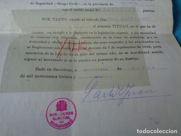 Militaria: lote titulo de nombramiento de agente del cuerpo de seguridad grupo civil 1938 valencia + 6 postales - Foto 4 - 158798462