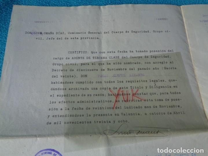 Militaria: lote titulo de nombramiento de agente del cuerpo de seguridad grupo civil 1938 valencia + 6 postales - Foto 9 - 158798462
