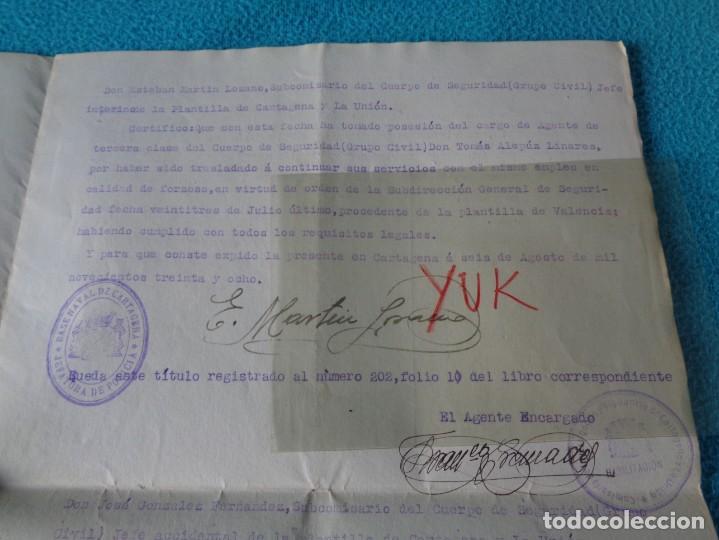 Militaria: lote titulo de nombramiento de agente del cuerpo de seguridad grupo civil 1938 valencia + 6 postales - Foto 10 - 158798462
