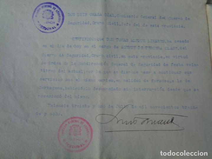 Militaria: lote titulo de nombramiento de agente del cuerpo de seguridad grupo civil 1938 valencia + 6 postales - Foto 11 - 158798462