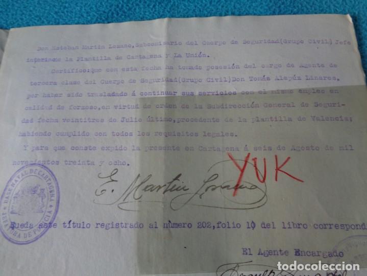 Militaria: lote titulo de nombramiento de agente del cuerpo de seguridad grupo civil 1938 valencia + 6 postales - Foto 13 - 158798462