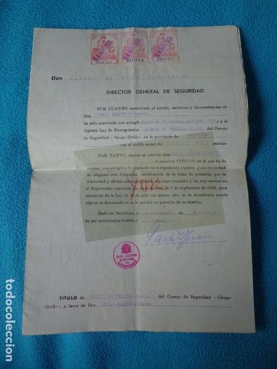 LOTE TITULO DE NOMBRAMIENTO DE AGENTE DEL CUERPO DE SEGURIDAD GRUPO CIVIL 1938 VALENCIA + 6 POSTALES (Militar - Guerra Civil Española)