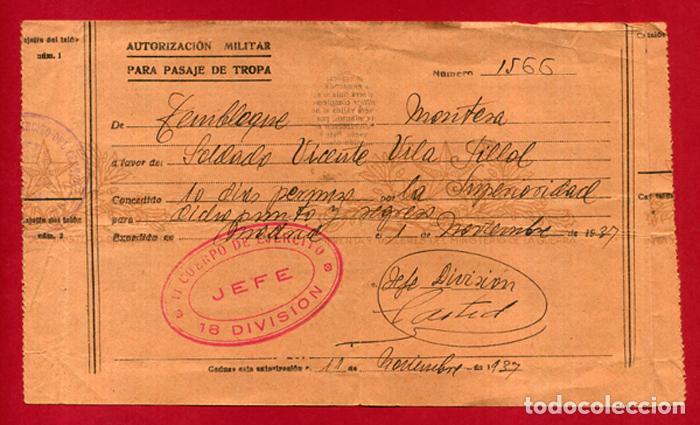 DOCUMENTO GUERRA CIVIL , AUTORIZACION MILITAR, 1937 , TEMBLEQUE A MONTESA ,VALENCIA , B10 -2 (Militar - Guerra Civil Española)