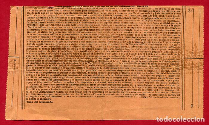 Militaria: DOCUMENTO GUERRA CIVIL , AUTORIZACION MILITAR, 1937 , TEMBLEQUE A MONTESA ,VALENCIA , B10 -2 - Foto 2 - 159519234
