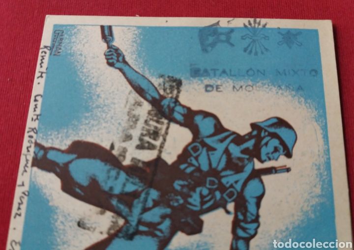 Militaria: Tarjeta postal CAMPAÑA. GUERRA CIVIL. Censura Zaragoza. Batallón mixto montaña. 1938 - Foto 2 - 160333528