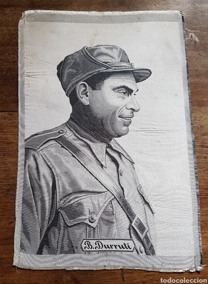 JACQUARD TELA ORIGINAL COMMEMORACION MUERTE BUENAVENTURA DURRUTI CNT FAI GUERRA CIVIL (Militar - Guerra Civil Española)