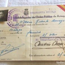 Militaria: RARO SALVOCONDUCTO REPUBLICANO, 1937, ANTEQUERA. Lote 164984477