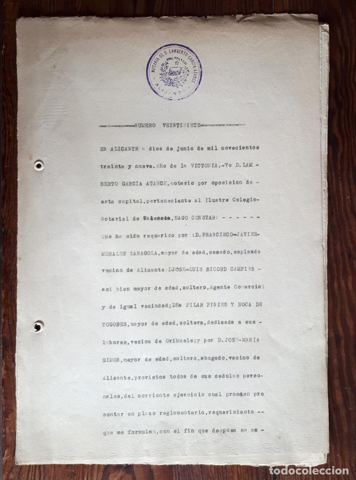 ESCRITURA DE LA LIQUIDACIÓN DE LA DELEGACIÓN DE FRENTES Y HOSPITALES DE ALICANTE JUNIO 1939 FALANGE (Militar - Guerra Civil Española)